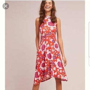 Maeve by Anthropologie Cleary Red Floral Dress